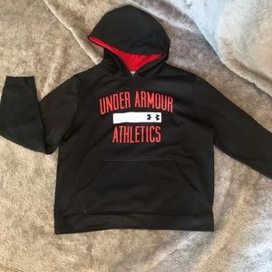 Under Armour hoodie. YLG. Black/red/white